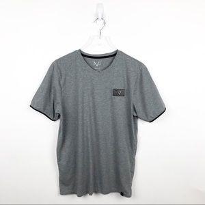 V 1969 Versace Italia Leather Patch Gray Tshirt M